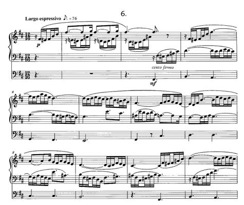 """Monologe Zwölf Stücke für die Orgel/Nr.6 - 3小節目のペダル部分にひっそりと「canto fermo」と書かれているが、これが""""O Haupt voll Blut und Wundenおお、血と涙にまみれた御頭よ""""(または""""Wenn ich einmal soll scheiden血潮したたる"""")からの引用"""