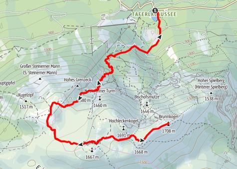 Route von der Taferlklause über das Hochleckenhaus auf den Brunnkogel