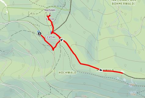 Routenverlauf vom Parkplatz Dreisesselberg auf den Bayerischen Plöckenstein und den Hochstein