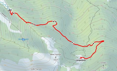 Route von der Karkogelhütte bei Abtenau auf die Gsengalmhütte