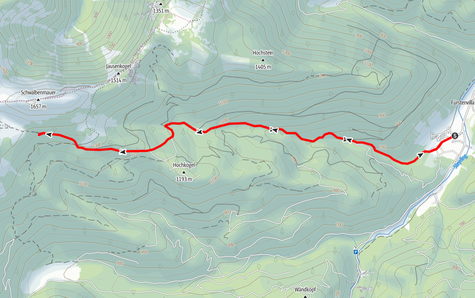 Route vom Brunnental zur Steyrerhütte