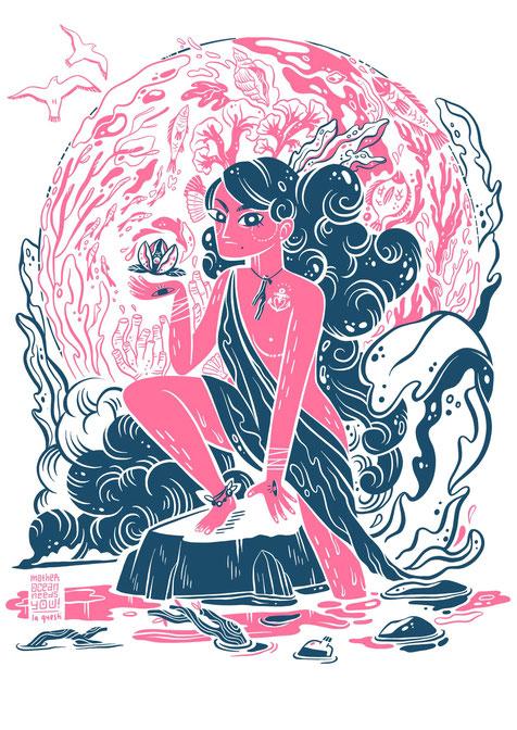 Umweltschutz, Mutter Ozean, No Plastic it's fantastic Illustration, Mother Ocean