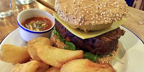 A Vegan Cheeseburger at Anna Loka in Cardiff
