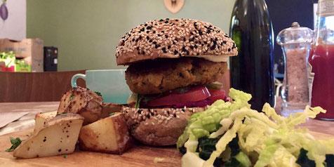 A Very Tasty Vegan Burger at Milgi in Cardiff