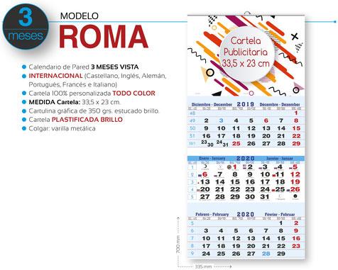 Calendario de pared publicitario plegable 3 meses vista con faldilla internacional