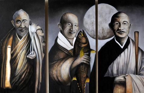 Zen Monks, Oilpainting on panel 3x(1m20mx60cm)  technic grisaille sepia.   Prijs:1500 euro inc btw