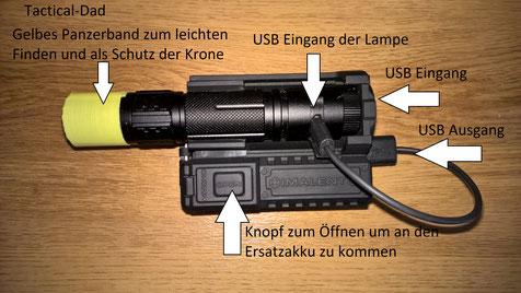 Mit dem Imalent MHD10 Holster kann man sein Handy, eine Taschenlampe oder Litium Akkus laden.