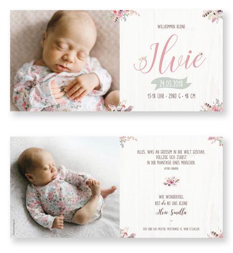 Geburtskarte Geburtsanzeige Schweiz kartendings Babykarte zur Geburt