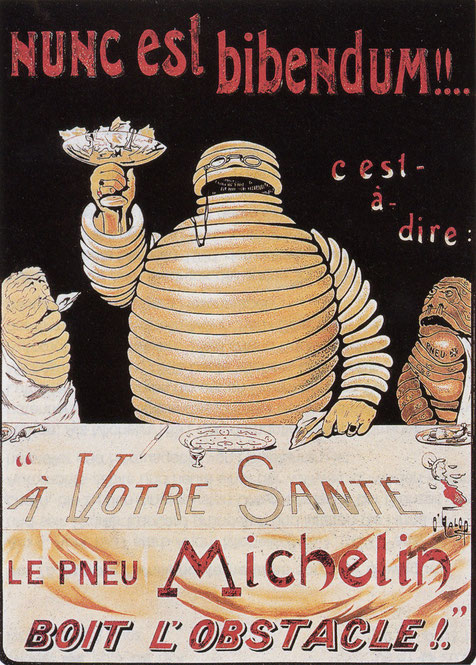 "An 1898 poster by ""O'Galop"" of Bibendum, the Michelin Man"