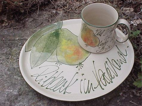 Frühstücksset, ovale Platte mit Kaffeebecher | 48,50 €