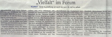 Kunst, Malerei, Vernissage, ausstellung, Presse, MKK, Presse, Gelnhäuser Neue Zeitung, Main-Kinzig-ForumMain-Kinzig-Forum
