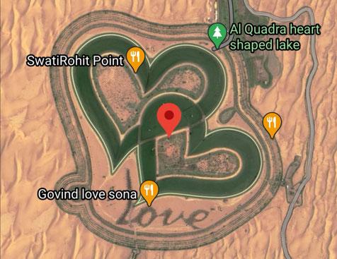 "Satellitenaufnahme des ""Love Lake"" über Google Maps"