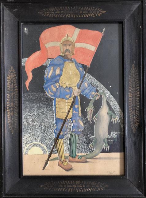Karl Friedrich Schobinger, Selbstportrait als Ritter Georg dem Drachentöter