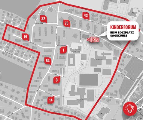 Das Märchen-Viertel im Buxtehuder Norden ist das Einzugsgebiet des Kinderforums - die eingetragenen Zahlen sind die dort lebenden Kinder (Stand Jan. 2020) - Karte: SJR