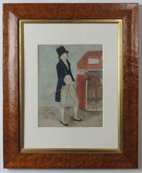 Regency naive folk art watercolour, a dandy at his stable