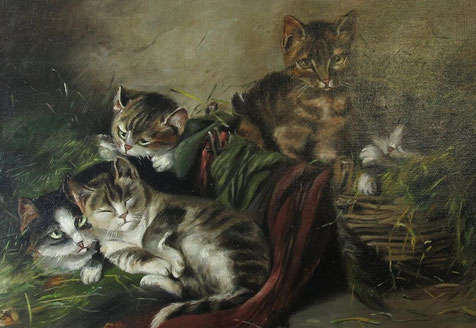 English 19th century folk art oil painting of a cat and her kitten in a barn