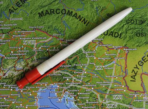 Oberflächendetail Landkarte Die Welt des alten Roms
