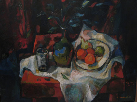 nature morte à la table rouge  (coll.privée)