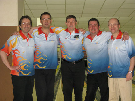 Thierry LAVERGNE, Jean-Gabriel RAFEGEAU (ASBF Paris) , Yves STROBBE, Laurent DE BISSCHOP et Marc SALZER
