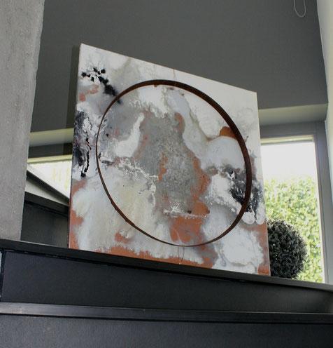 """""""Welten 1"""" - 80cm x 80cm - Acryl/ rostiger Eichenfassring auf Leinwand - verkauft"""