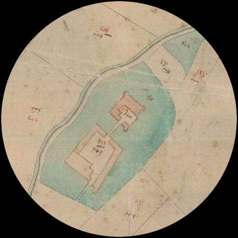 Site internet Cartesius, Carte du cadastre primitif, 1830-33, Château de Tongrenelle et sa ferme
