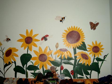 die Sonnenblumen im evangelischen Kindergarten