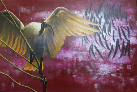 """""""Ibis worshipped in ancient Egypt"""" 90cm x 60cm Multimedia on canvas $450 (excluding freight)"""