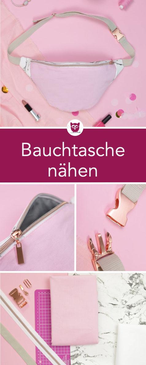 #BauchtascheBabsi aus dem #DIYeuleBuch : klassische Bauchtasche nähen aus Kunstleder in Marmor Optik, mit Innenfutter, Reißverschluss, Gurtband und Schnalle aus Metall. Nähanleitung und Schnittmuster von DIY Eule.