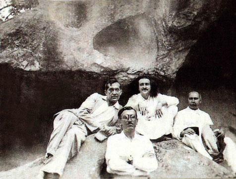 ( L-R ) Raosaheb, Chanji, Meher Baba, Gustadji