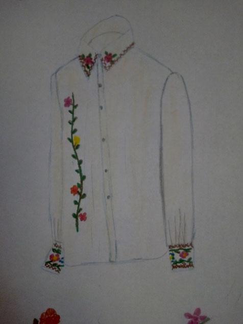 Chemise brodée à la main