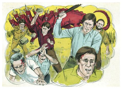 Le dragon représentant Satan et le 2ème cheval de l'Apocalypse représentant la guerre sont flamboyants, de couleur rouge-feu, la couleur du sang et du feu. Cette couleur évoque ici la violence, la destruction et la guerre.