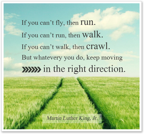 If you can't run, then walk. If you can't walk, then crawl... Martin Luther King Jr.