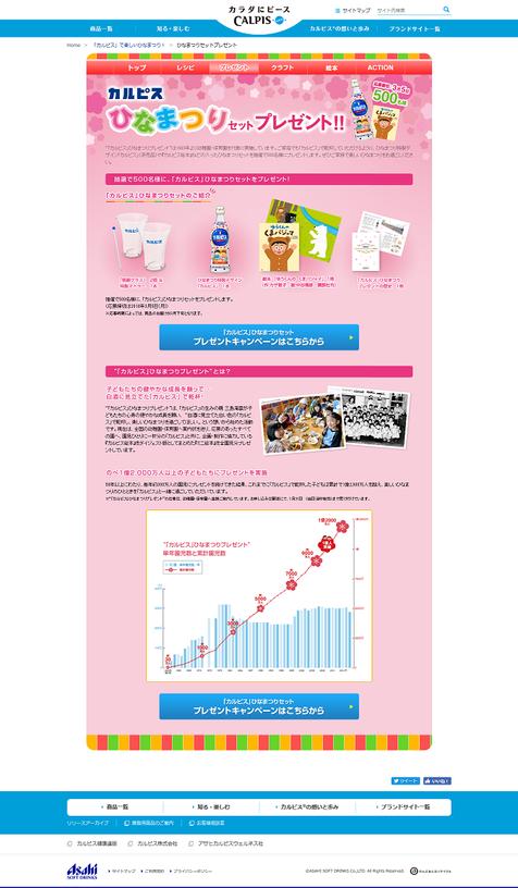 【カルピス】ひなまつりセットプレゼントキャンペーン