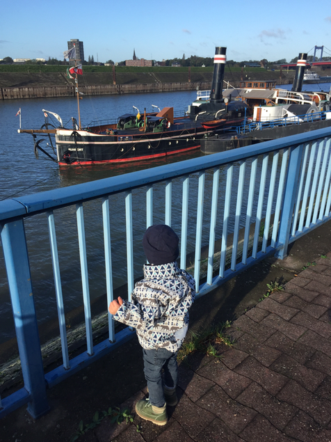 Brrr... heute ist es ganz schön windig. Aber der kleine Rabe findet absolut alles am Hafen interessant. Die Schiffe, den Kran, die Flaggen, die im Wind wehen. Ein schöner Spaziergang am Morgen.