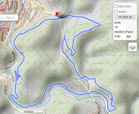 Die mögliche Tour der Eselwanderung in Bad Berleburg, Naturpark Sauerland-Rothaargebirge