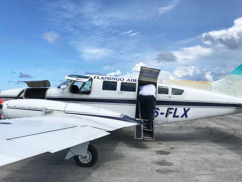 Flamingo Air Flugzeug auf Staniel Cay