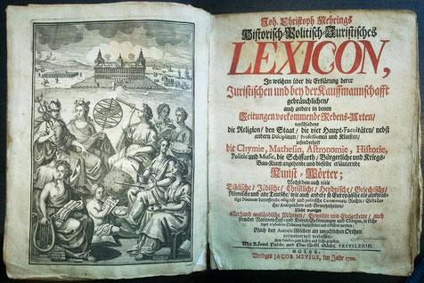 Frontispiz aus Johann Christoph Nehrings Juristisches Lexicon (1710)
