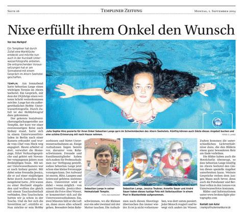Bild: Artikel im Uckermark Kurier über Unterwasserfotos beim Babyschwimmen und Unterwasser Fotoshootings in Templin, Berlin, Potsdam, usw.