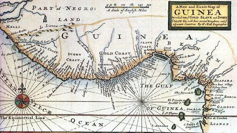 Bild: Herman Moll 1725 [public domain].*** Der Küstenabschnitt, aus dem Melegueta kam, wurde im 18. Jahrhundert nach dem Gewürz Melegueta-Küste, Pfefferküste oder Graincoast (von Grains of Paradise) genannt.