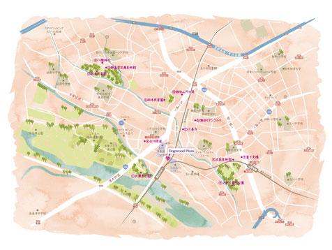 二子玉川イラストマップ