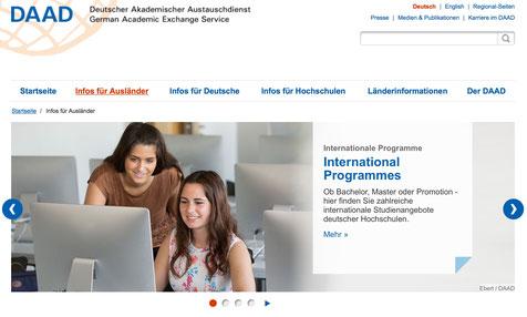 Foto: Screenshot der DAAD-Website
