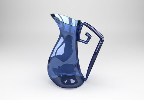 Carafe ou vase en verre de couleur.