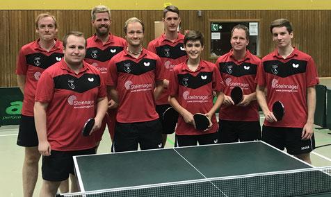 Meister 2019/2020 in der Landesliga: Tobias Korff, Fabio Deckert, Michael Schuy, Matthias Wibbe, Florian Fechtler, Emilo Schulz, Andreas Wibbe und Pascal Polak