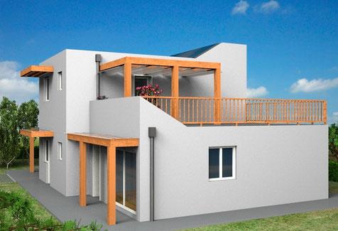 Villa moderna, 2 piani, 130mq