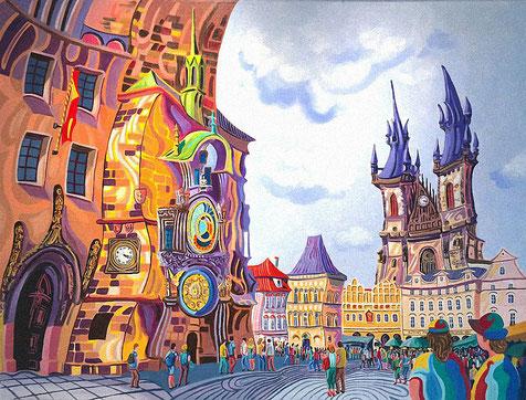 TORRE DEL RELOJ (PRAGUE). Huile sur toile. 97 x 130 x 3,5 cm.