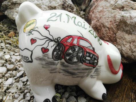 Spardose, Sparbüchse, Sparschwein zur Hochzeit, ein tolles Geschenk!