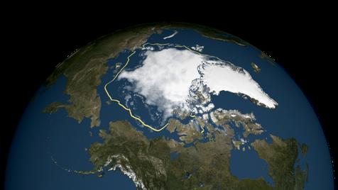 Ausdehnung des arktischen See-Eises im September 2015 relativ zur Ausdehnung im Jahr 1979 (gelbe Linie)