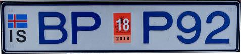 Ein Isländisches KFZ - Kennzeichen