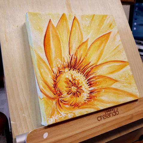 Sonnenblume, gelb, orange, rot, Strahlen