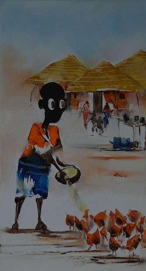 NALA füttert die Hühner (45cm x 25cm) Ölfarbe auf Leinwand,  gemalt von Stanley Sibanda, Bulawayo / Zimbabwe